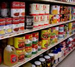 store shelf of canned goods